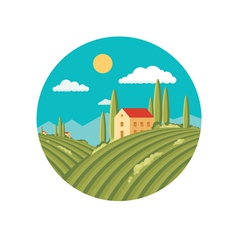 Agriculture landscape with vineyard vector
