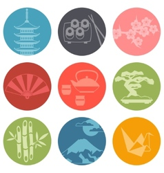 Japan icons and symbols set vector