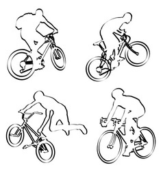 Bicyclists outline vector