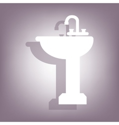 Bathroom sink icon with shadow vector