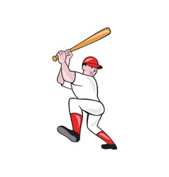 Baseball Player Batting Isolated Full Cartoon vector image vector image