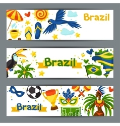 Brazil banners with stylized objects and cultural vector