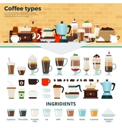 Different coffee on the table vector