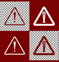 Exclamation danger sign flat style bordo vector