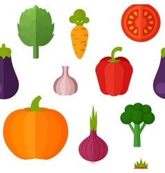 Flat vegetables seamless pattern vector image