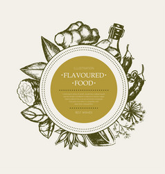Flavoured products - hand drawn round banner vector