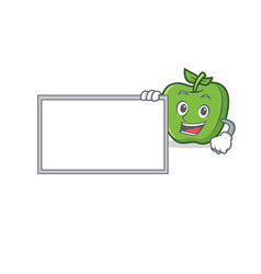Green apple character cartoon with board vector