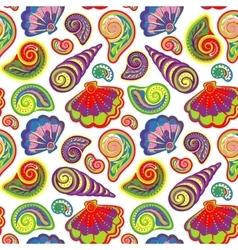 Hand draw sea shells pattern seamless texture vector