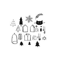 Hand drawn merry christmas rough freehand vector