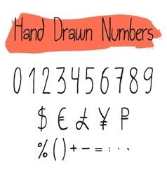 Handwritten simple numerals set vector image