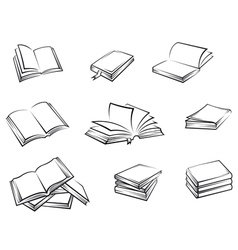Hardcover books set vector image vector image