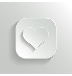 Heart icon - white app button vector image vector image