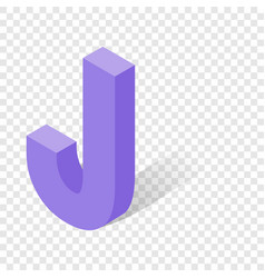 J letter in isometric 3d style with shadow vector