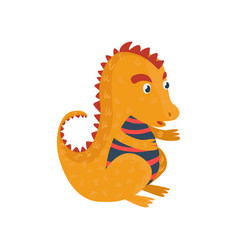 little orange dragon cartoon character mythical vector image