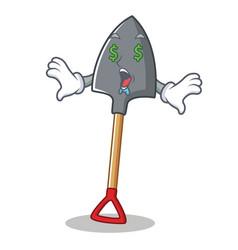Money eye shovel character cartoon style vector