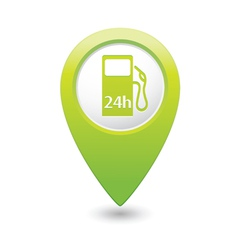 Petrol station 24h green map pointer vector