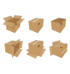 set of cardboard boxes vector image