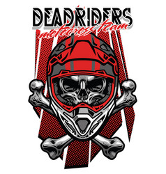 skull morocross rider with crossed bones vector image vector image