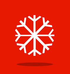 snowflake flat icon on red background snow vector image vector image