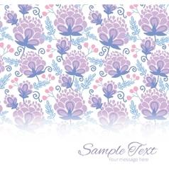 Soft purple flowers horizontal border card vector