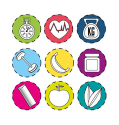 Sticker healthy lifestyle icons design vector