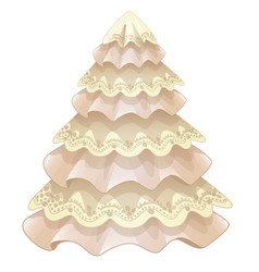 Stylized christmas tree made of fabric and lace vector