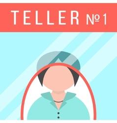 teller behind the window vector image