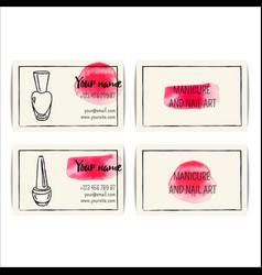 Watercolor nail art buisness cards templates set vector
