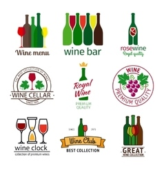 Wine shop logos set vector image vector image