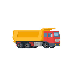 Yellow dump truck with red cabin isolated on white vector