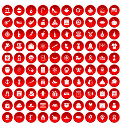 100 national holiday icons set red vector
