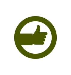 Hand up in circle icon flat style vector
