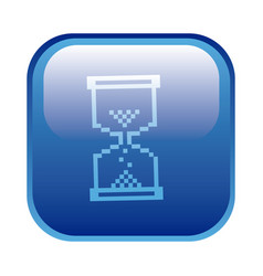 Blue square frame with hourglass icon vector