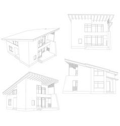Frame house four angle vector