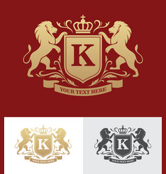 Golden crest design with rampant lions vector