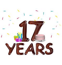 Seventeen years anniversary celebration card vector
