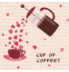 Card with coffee and hearts vector