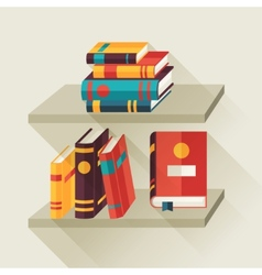 Card with books on bookshelves in flat design vector