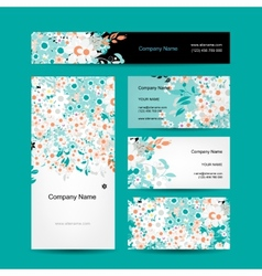 Business cards design floral style vector image