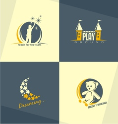 Kids world logo concepts vector