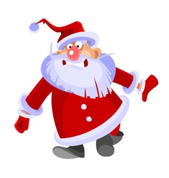 Cartoon santa claus curve and funny vector