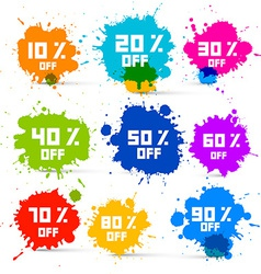 Transparent colorful discount sale splashes set vector