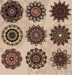 Set of 9 mandalas vector