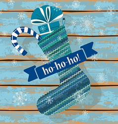 Knitted christmas sock vector