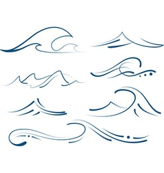 Waves set vector