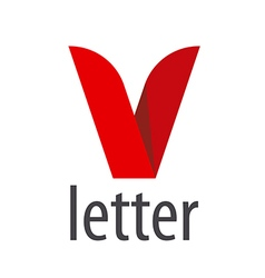 Logo red ribbon in the shape of the letter v vector