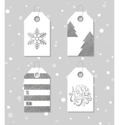 Silver textured festive gift tags vector