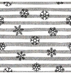 Seamless snowflakes pattern on striped background vector