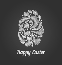 Greeting card with doodle easter egg-4 vector