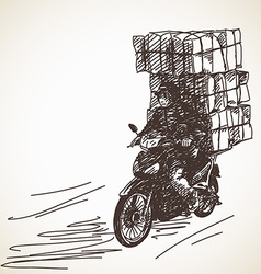 Sketch of motorcycle delivery vector